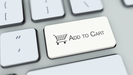 Add to cart button on computer keyboard. Key is pressed