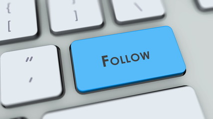 Follow button on computer keyboard. Key is pressed