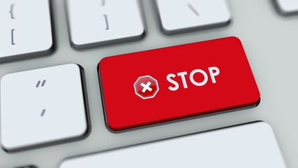 Stop button on computer keyboard. Key is pressed