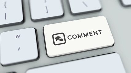 Comment button on computer keyboard. Key is pressed