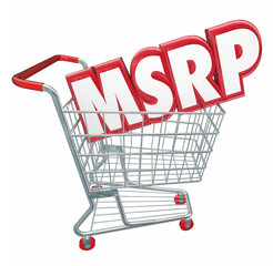 MSRP 3d Words Abbreviation Shopping Cart Manufacturers Suggested