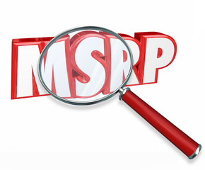 MSRP 3d Word Abbreviation Magnifying Glass Manufacturers Suggest