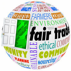 Fair Trade Words Globe International Business Policy Open Door