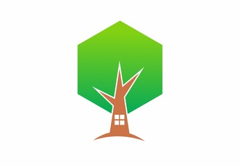 nature green,Eco house, leaf, wood, logo,vector