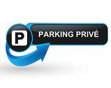 parking privé sur bouton web design bleu