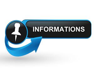 informations sur bouton web design bleu
