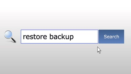 Restore backup - graphics browser search query, web page