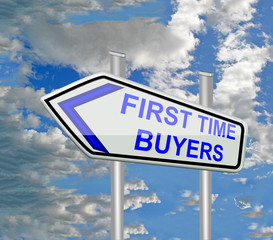 first time buyers blue road sign sky and clouds