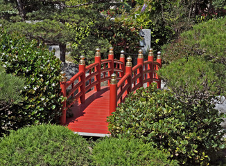 Monaco - Red bridge in Japanese garden