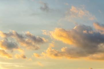 Sunset sky and orange cloud