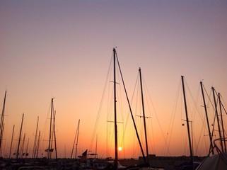 sunset in Jaffa port, Israel