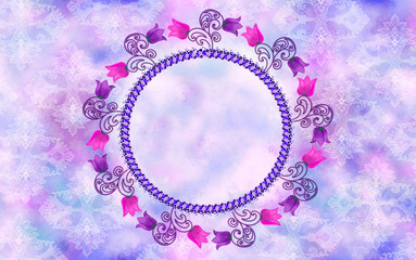 Round decorative frame decorated swirls with bells on blurred ba
