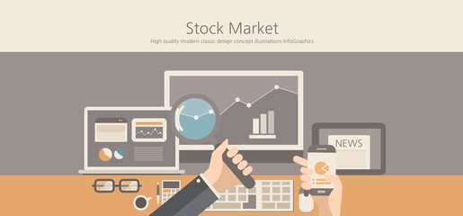 Modern and classic design stock market concept.