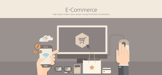 Modern and classic design e-commerce concept.