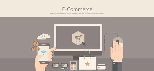 Modern and classic design e-commerce concept.
