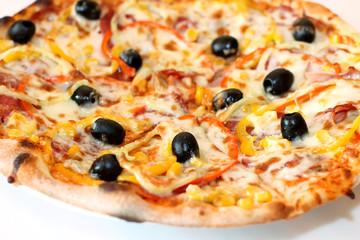Closeup scene of pizza