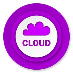cloud icon, violet button