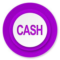 cash icon, violet button