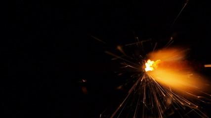 Burning bengal fire close up
