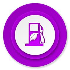 biofuel icon, violet button, bio fuel sign