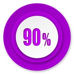 90 percent icon, violet button, sale sign