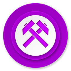 mining icon, violet button