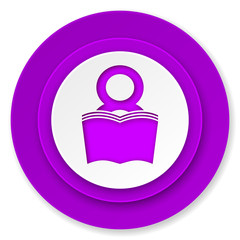 book icon, violet button, reading room sign, bookshop symbol