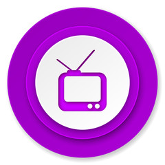 tv icon, violet button, television sign