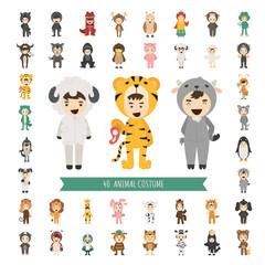 Set of 40 Animal costume characters
