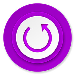 rotate icon, violet button, reload sign