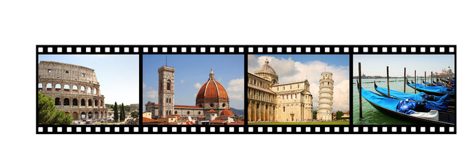 Film strip with Italian pictures