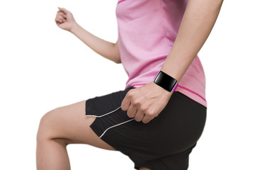 sport woman wearing smartwatch with bright pink watchband