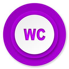 toilet icon, violet button, wc sign