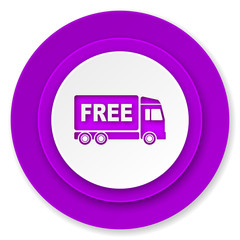 free delivery icon, violet button, transport sign
