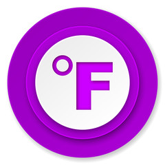 fahrenheit icon, violet button, temperature unit sign