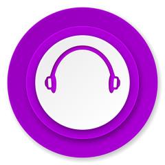 headphones icon, violet button