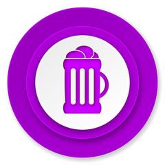 beer icon, violet button, mug sign