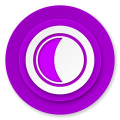 moon icon, violet button, sleep sign