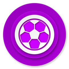 soccer icon, violet button, football sign