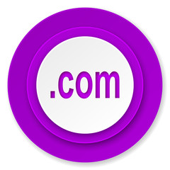 com icon, violet button