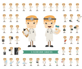 Set of doctor characters poses