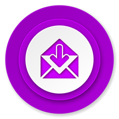 email icon, violet button, post message sign