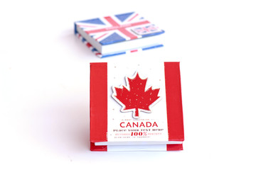 Canadian flag on the notebook  - Stock Image