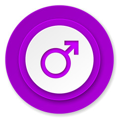 male icon, violet button, male gender sign