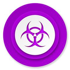 biohazard icon, violet button, virus sign