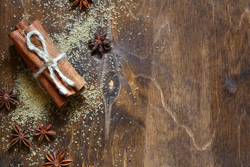 Cinnamon and sugar on the table