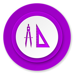 learning icon, violet button