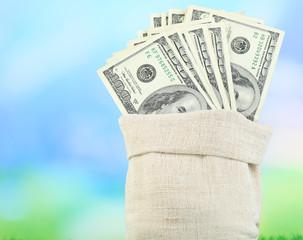 Lot of one hundred dollar bills in bag