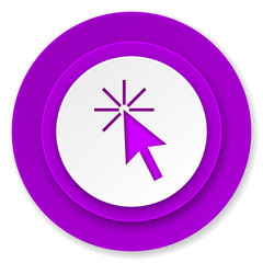 click here icon, violet button