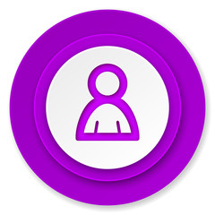 person icon, violet button